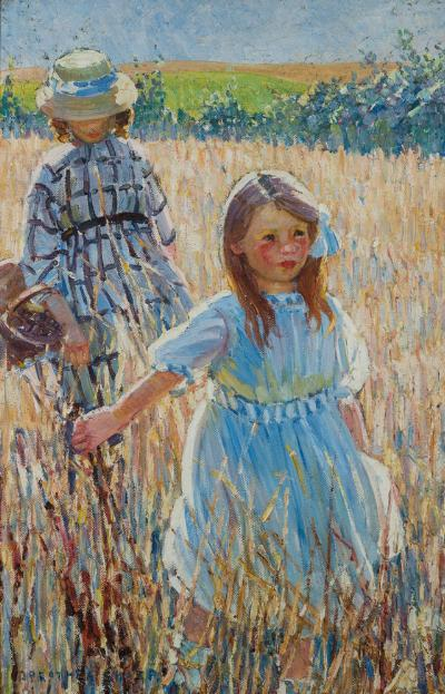 Dorothea Sharp [1874-1955] - A Summer's Day; two young girls walking through a cornfield - signed Dorothea Sharp bottom left oil on canvas 76 x 50cm.