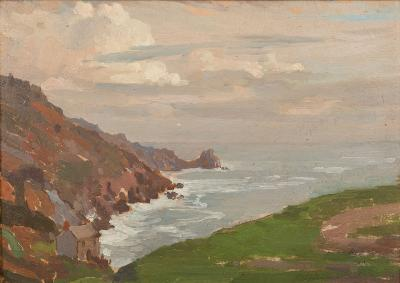 Sale FS33; Lot: 0476: Samuel John Lamorna Birch [1869-1955] - A Cornish Cove - signed bottom right oil on board 24 x 34cm.