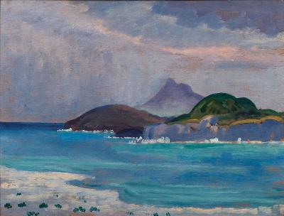 James Dickson Innes [1887-1914] - Grey Mediterranean - signed and inscribed as titled twice on the reverse further inscribed on the reverse 'Mrs Cole' and 'Horace de Vere Cole' oil on board 29.5 x 39.5cm.