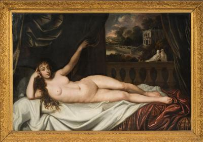 Sale FS35; Lot: 0402: Studio of Sir Peter Lely [1618-1680] - A recumbent nude on a balustraded balcony, her left hand raised, a pair of doves nearby, a Palladian house and trees in the distance - oil on canvas 129 x 196cm.