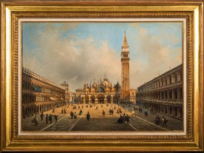 Sale FS35; Lot: 0447: P Guerena [19th Century Italian School] - The Piazza, San Marco, Venice, with numerous figures - signed, inscribed and dated P Guerena, Venezia, 1858 bottom left oil on canvas 39 x 59cm.