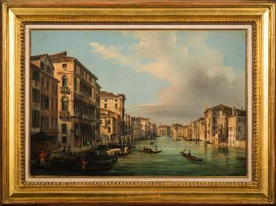 Sale FS35; Lot: 0448: P Guerena [19th Century Italian School] - The Grand Canal, Venice - signed and inscribed P Guerena, Venezia bottom left oil on canvas 39 x 59cm.