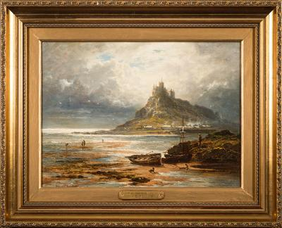Sale FS35; Lot: 0455: Benjamin Williams Leader [1831-1923] - St Michael's Mount; low tide, a dog and fishermen in the foreground, shellfish pickers beyond signed and dated 1877 bottom left oil on canvas 27 x 37cm.