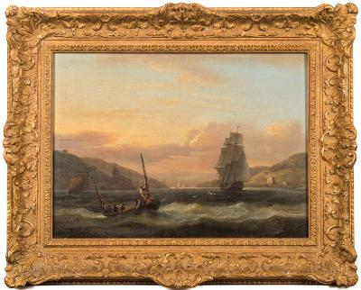 Sale FS35; Lot: 0470: Thomas Luny [ 1759-1837] - Entrance to the river Dart - a two master and a fishing smack in the foreground signed and dated Luny 1820 bottom left oil on panel 28.5 x 39cm.