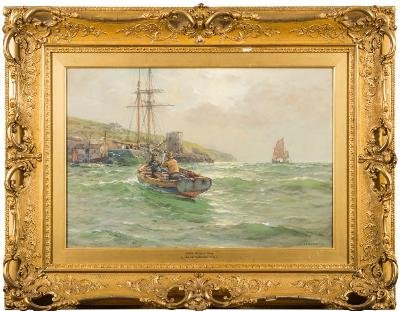 Sale FS35; Lot: 0471: Arthur Wilde Parsons [1854-1931] - Under Polruan, Fowey - signed and dated 1916 watercolour heightened with white 37 x 55cm.