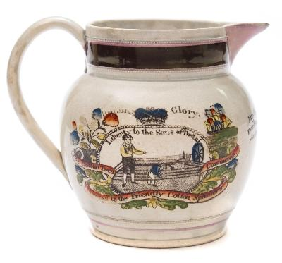 An early 19th century painted and transfer printed pearlware 'Friendly Cotton Spinners' jug inscribed 'May the Spinners Ever Flourish and their Master never Faill' together with scenes of cotton spinning, mottos and emblems, 15cm high. * in the cotton towns of Lancashire, Cheshire and Derbyshire there were local friendly societies or trade clubs which were in effect early trade unions.