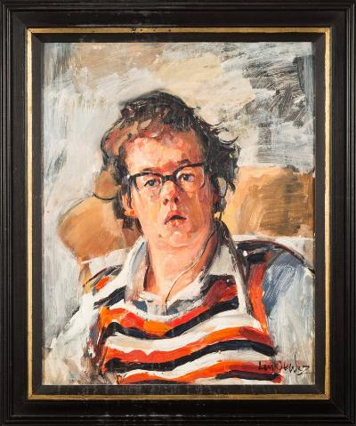 Robert O Lenkiewicz [1941-2002] - Alan Walker Pyne - Project 3, Mental Handicap, circa 1976 signed, inscribed by the sitter and the father of the sitter, on a label attached to the reverse oil on board, 50 x 40cm.