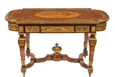 A fine Napoleon III mahogany, kingwood, burr walnut and marquetry table de milieu, in the Louis XVI style, applied with gilt metal mounts, the rectangular top with rounded ends decorated with a central marquetry panel of flora, fruits and foliage within a guilloche border and trellis and flowerhead surround, above a frieze drawer applied with mounts in the Weisweiler style, the ends with anthemion mounts on square section tapering legs applied with shuttering and acanthus leaf mounts, joined by a shaped undulating H stretcher centred by a classical vase finial on foliate cast spool feet, 126cm wide, 63cm deep, 72cm high.