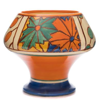 Sale FS37; Lot: 0761: A Clarice Cliff 'Fantasque' vase decorated with the 'Umbrellas and Rain' pattern, circa 1929-30, 13cm high.
