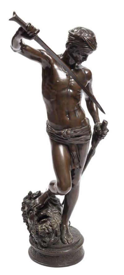 Sale FS37; Lot: 0991: Antonin Mercie (1845-1916) David the Conqueror bronze with dark brown patination, signed A Mercie, bears Collas reduction seal, 74cm high.