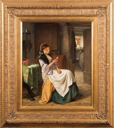 Haynes King [1831-1904] - The Love Letter - signed and dated 1872 bottom right oil on canvas 59 x 49cm.
