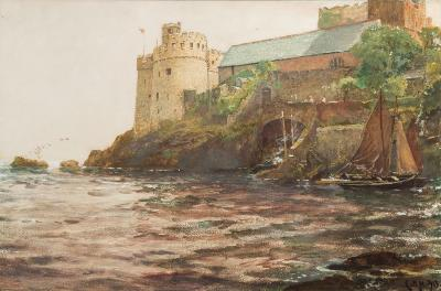 Sale FS37; Lot: 0612: Charles Napier Hemy [1841-1917] - Dartmouth Castle signed with initials and dated CNH 1913 bottom right watercolour heightened with white 45 x 68cm, together with a book by Margaret Powell, Master of the Sea, where this watercolour is illustrated.