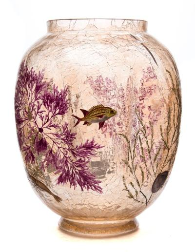 A Moser amber crackled glass vase of shaped globular form, enamelled with a crab, a lobster and fish swimming amongst seaweed and seagrass, circa 1900, 25cm high.