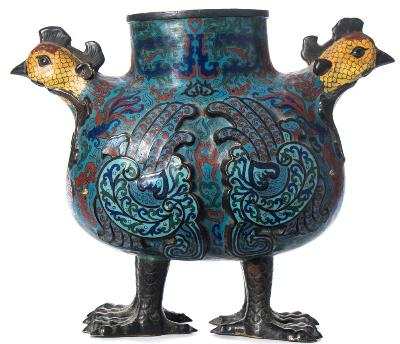 Sale FS37; Lot: 0866: A large Chinese cloisonne vase in the form of two chickens, of ovoid form with enamel decoration of fish amongst seaweed, a shaped wing to each side, raised on four feet, 36cm high.
