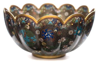 Sale FS37; Lot: 0889: A Japanese cloisonne bowl of fluted form, decorated overall with an intricate design of floral and butterfly medallions, late Meiji, 15.5cm diameter.
