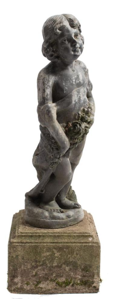 A lead figure of a girl clutching a floral garland, mounted on a concrete plinth, total height 94cm.