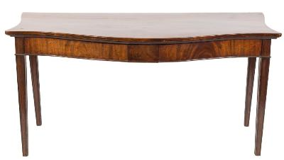 Sale FS37; Lot: 1137: An early 19th Century mahogany serpentine fronted serving table, with serpentine sides, the apron with plain rectangular central panel on moulded square tapered legs, 173cm (5ft 8in) long.