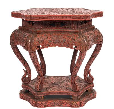 Sale FS37; Lot: 1212: A Chinese carved wood and red lacquered veneer urn stand, of shaped hexagonal outline, with all over decoration of peony blossom amidst foliage, the top with a central figure of a peacock, having a dentil edge on an integral base with shaped apron and six scroll supports with platform base, 55cm (1ft 9 1/2in) long, 54cm (1ft 9 1/4in) high.