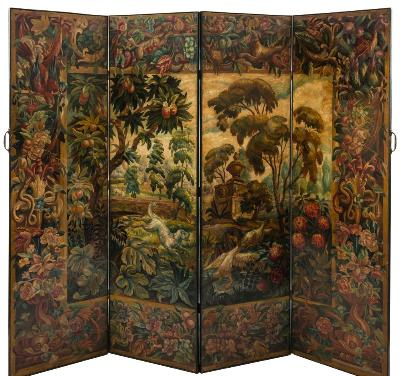 Sale FS37; Lot: 1228: A painted leather four fold screen, decorated with a neo classical garden landscape with a dog chasing two ducks from a pond, within a wide floral and fruiting border, each panel 54.5cm (1ft 9 1/2in) x 190cm (6ft 2 3/4in).