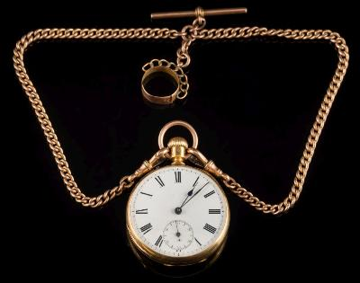 Sale FS38; Lot: 0201: A late 19th century French gold-cased keyless cylinder open face pocket watch, the circular white enamel dial with Roman numerals and subsidiary seconds dial with 9ct gold suspension ring and attached 9ct gold watch chain, 105gms gross weight.