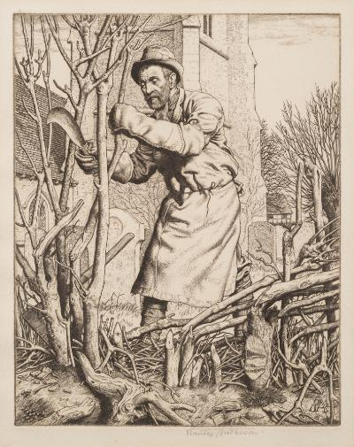 Sale FS39; Lot: 0262: Stanley Anderson [1884-1966] - Hedge laying,- etching, signed in pencil image size 19 x 15cm.