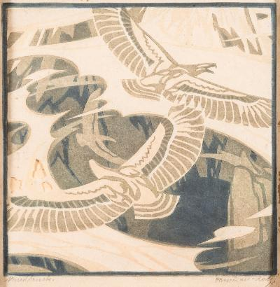 Sale FS39; Lot: 0274: Norbertine von Bresslern-Roth [1891-1978] - American Eagles,- linocut signed in pencil in the bottom margin image size 22 x 22cm [some damage].
