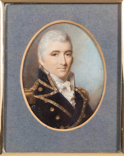 Sale FS39; Lot: 0291: Follower of George Engleheart [early 19th Century] - A miniature portrait of Admiral Sir Pulteney Malcolm,- head and shoulders with short wavy grey hair and brown eyes, wearing naval uniform, sky background, on ivory, oval, 9.6cm.