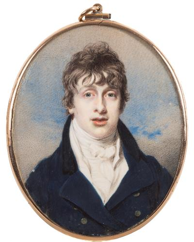 Sale FS39; Lot: 0295: English School circa 1800- A miniature portrait of a young man,- head and shoulders with dark wavy hair and blue eyes, wearing a blue coat and white linen stock, sky background on ivory, oval 7.6cm, in a yellow metal frame with mother of pearl guilloche enamel back enclosing a lock of hair and gilt metal RW monogram.