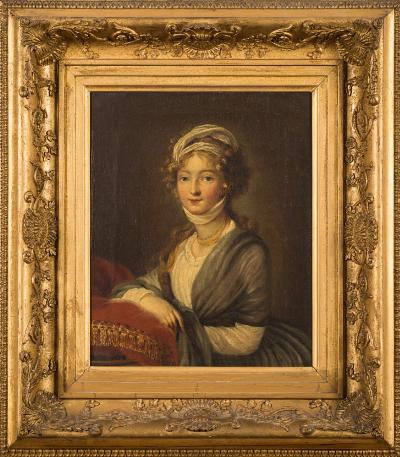 Sale FS39; Lot: 0314: Circle of Louis-Leopold Boilly [1761-1845] - A portrait of a young lady,- half-length standing wearing a green shawl over a white dress, head scarf and bead necklace, leaning against a red velvet cushion oil on canvas 32 x 26cm.