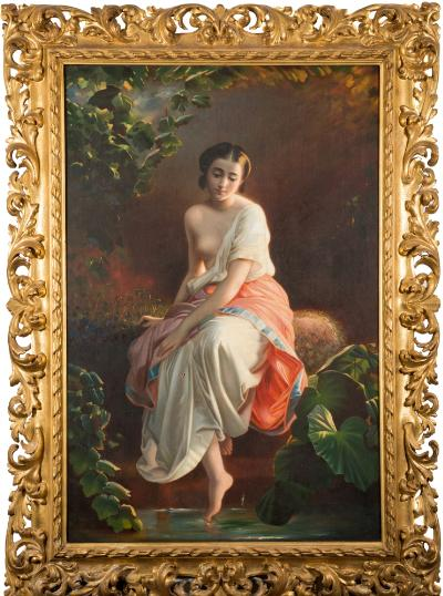 Sale FS39; Lot: 0315: Achille Leonardi [1800-1870] - 'Reflections'; youth by a sunlit pool,- signed, inscribed and dated Roma 1866 on the reverse oil on canvas 135 x 89cm, in a fine foliate carved giltwood frame.