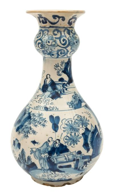 Sale FS39; Lot: 0486: A Dutch blue and white delft garlic-necked bottle vase painted with oriental figures in landscapes with fences, rockwork, flowers and foliage, mid 18th century, 21.5cm high [neck restored, chips to footrim].