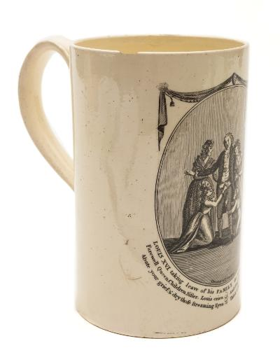 Sale FS39; Lot: 0494: A late 18th century creamware Commemorative mug of cylindrical form with grooved loop handle, transfer printed in black by Thomas Fletcher & Co, Shelton with 'Louis XVI taking leave of his Family the morning of his execution-Farewell Queen, Children, Sister, Louis cries and O!my Son if e'er the Crown you wear, Abate your grief & dry those streaming Eyes, Think of my fate & steer your course with care', probably Leeds, 13cm [minor damage].