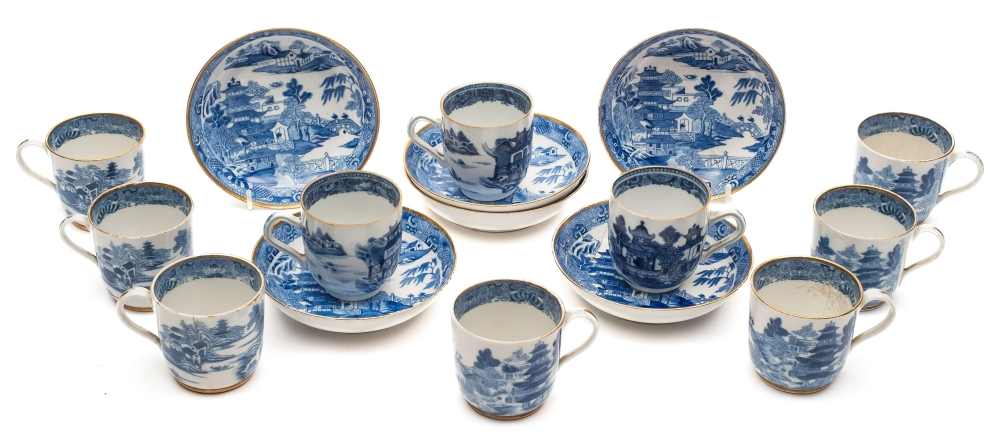 Sale FS39; Lot: 0546: Of Samuel Taylor Coleridge Interest A set of six late 18th/early 19th Century Spode porcelain coffee cups, seven saucers and three similar Chinese coffee cups, transfer printed in blue with the 'Two Temples' pattern (some damage).