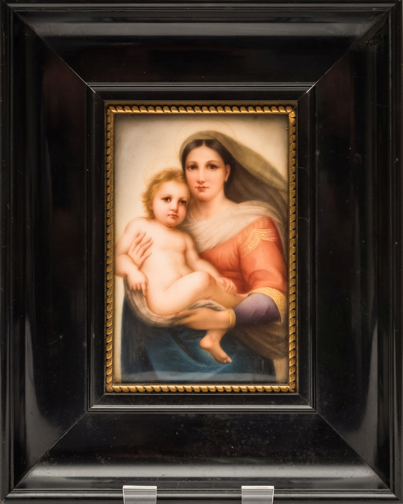 Sale FS39; Lot: 0561: Two KPM porcelain rectangular plaques of the Sistine Madonna and Child after Raphael and Jesus in the garden of Gethsemane, 14 x 9cm in ebonised frames.