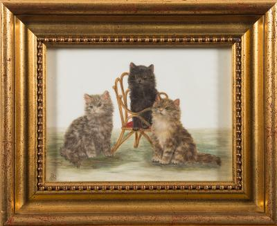 Sale FS39; Lot: 0276: Bessie Bamber [19/20th Century] - Kittens,- a pair, each signed with a monogram BB painted on porcelain each 14 x 19.5cm.