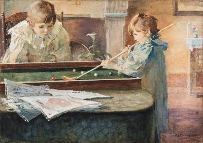 Sale FS39; Lot: 0316: Sir Alfred James Munnings [1878-1959] Children Playing Bagatelle signed A J.Munnings and dated '98 bottom right watercolour heightened with white 20.75 x 25cm.