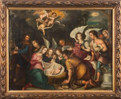 Sale FS39; Lot: 0317: Northern European School, circa 1800- the Adoration of the Shepherds,- oil on copper 27.5 x 35.5cm.