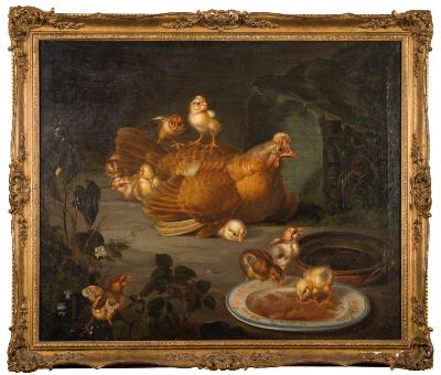 Sale FS39; Lot: 0323: Manner of Jean Baptiste Oudry, late 18th Century - Hen and Chicks outside a coop,- oil on canvas 61 x 74cm.