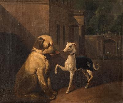 Sale FS39; Lot: 0324: German School [19th Century] - Large dog with bowl and a greyhound in a courtyard of a Palladian House - oil on canvas 26 x 31cm.