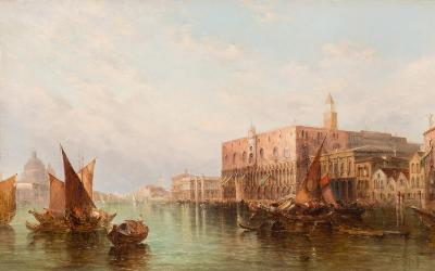 Alfred Pollentine [1836-1890] - The Ducal Palace, Venice; an extensive view with gondolas and other canal boats,- signed and dated '78 bottom left, oil on canvas, 51 x 81cm.