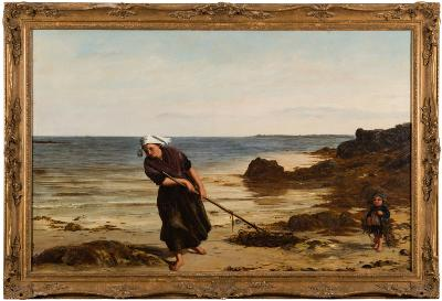Sale FS39; Lot: 0365: James Clarke Hook [1819-1907] - The Kelp Gatherers; a mother and child on a shore - monogrammed and dated '65 bottom right oil on canvas 69 x 107cm.