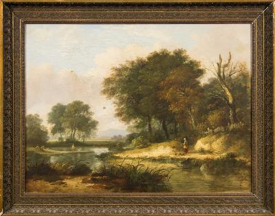 Sale FS39; Lot: 0368: William Traies [1789-1872] - A Devon landscape,- thought to be the Upper Teign above Chagford Bridge, a view to Kes Tor beyond oil on canvas 46 x 61cm.