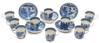 Of Samuel Taylor Coleridge Interest A set of six late 18th/early 19th Century Spode porcelain coffee cups, seven saucers and three similar Chinese coffee cups, transfer printed in blue with the 'Two Temples' pattern (some damage).