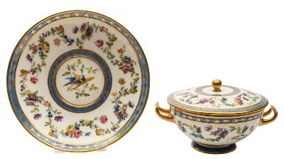 Sale FS39; Lot: 0556: A French porcelain écuelle, cover and stand enamelled with a meander of garden and wild flowers between narrow blue borders with gilt sprigs, the centre of the stand with a pair of 'love birds', painted Sèvres and 'L', stand 20cm diameter.