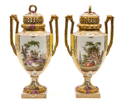 Sale FS39; Lot: 0560: A pair of Helena Wolfsohn Dresden two-handled pot pourri vases and covers painted with alternating gilt edged panels of figures in romantic landscapes and floral bouquets on a yellow ground, underglaze blue AR marks, late 19th century, 30cm [minor wear to gilt].