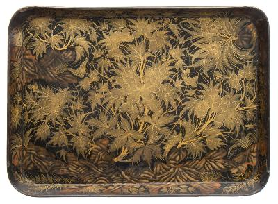 Sale FS39; Lot: 0666: A mid 19th century papier mache tray by Clay, London with all-over gilt foliate decoration, stamped to the underside Clay, London, below a crown, 76 x 55cm.