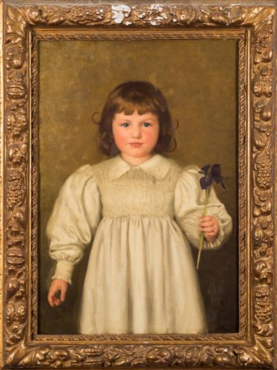 Sale FS40; Lot: 0351: Thomas Cooper Gotch [1854-1931] - Patricia holding an Iris, 1917,- signed TC Gotch bottom right oil on canvas 66 x 45cm.
