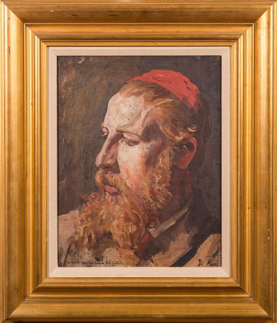 Sale FS40; Lot: 0390: Jean Paul Laurens [1838-1921] - A head and shoulders self-portrait - monogrammed and dated 1881, also inscribed 'a mon ancien eleve, TC Gotch', oil on canvas, 42 x 32cm.