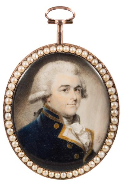 Sale FS40; Lot: 0414: Philip Jean [1755-1802] - A miniature portrait of a gentleman, head and shoulders,- with powdered wig and brown eyes, wearing a blue tunic with gold braid and brass buttons, signed with initials PJ bottom right oval, on ivory, 5.7cm, within a seed pearl mounted frame with blue guilloche enamel, plaited hair and seed pearl reverse.