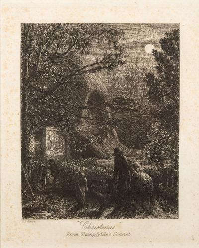 Sale FS40; Lot: 0424: Samuel Palmer [1805-1881] - Christmas, or Folding the Last Sheep, 1850,- final published state, 4th state of 5 etching, image size 10 x 8cm.